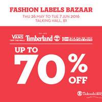 Dress to the nines with men's apparel, footwear and accessories from Timberland, Napapijri and VANS at the Fashion Labels Bazaar, Brands include Vans Off The Wall, Timberland and Napapijri