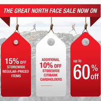 The North Face has started their GSS sale with storewide discounts at all TNF stores islandwide. Citibank cardmembers enjoy additional 10% off storewide.