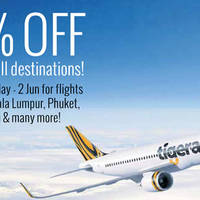Read more about TigerAir 50% Off (fr $52) all-in Return Fares to All Destinations For NTUC Members from 30 May - 2 Jun 2016