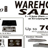 Turbo will be having a warehouse sale from 3 June to 5 June at 52 Loyang Way featuring discounts of up to 70% off. Revamp your kitchen and choose from a vast array of gas, electric, ceramic hobs and more