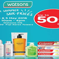 Check out some Sweet summer Sur-PRICES of discounts at up to 50% off at Watsons' Headquarter sales from 4-5 May 2016, 10am - 4pm daily.