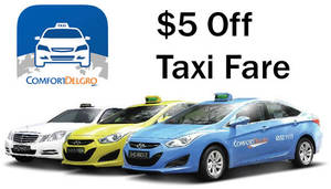 Get $5 off taxi ride with Comfort Delgro's latest promo code valid from 2 – 4 Dec 2016