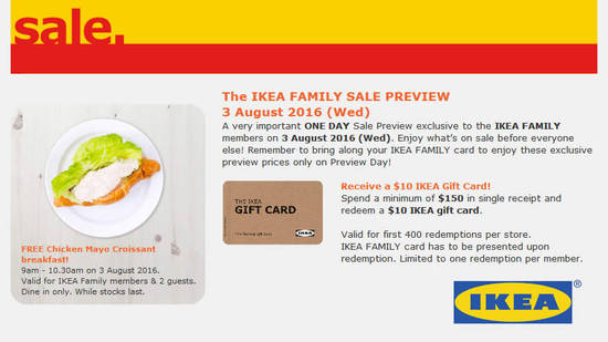 IKEA Family Sale Feat 27 Jul 2016