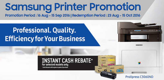 Samsung Printer Promotion Feat 17 Aug 2016