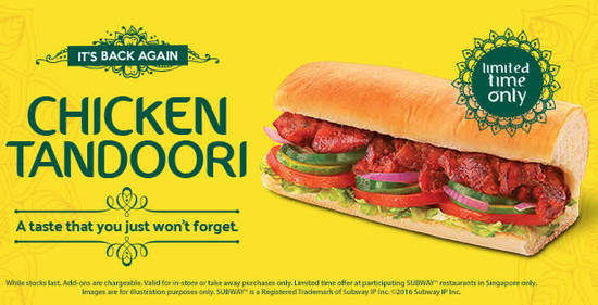 Subway Chicken Tandoori Feat 12 Aug 2016