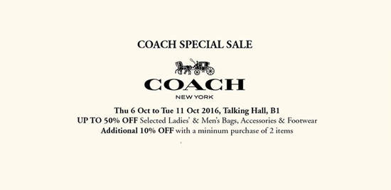 Coach Special Sale Feat 5 Oct 2016