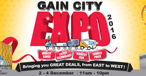 Gain City Expo at Singapore Expo & Sungei Kadut Megastore from 2 – 4 Dec 2016