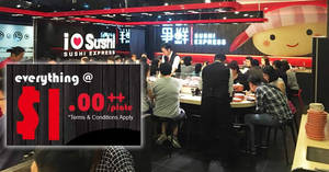 Sushi Express: Everything at $1++ per plate opening promo at Heartland Mall (near Kovan MRT) from 26 – 28 Apr 2017
