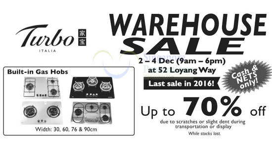 Turbos warehouse sale feat 28 Nov 2016