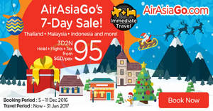Enjoy a 3D2N vacation fr $95/pax (Hotel + Flights + Taxes) with Air Asia Go from 5 – 11 Dec 2016