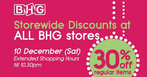 BHG offers 30% off regular-priced items one-day promo with NETS cards on 10 Dec 2016