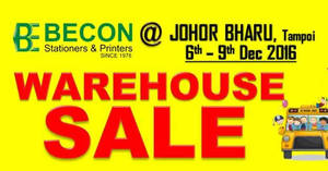 Becon stationery warehouse sale at Johor Bahru Malaysia from 6 – 9 Dec 2016