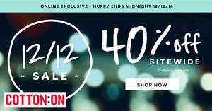Cotton On throws 40% off sitewide on full-priced items online from 11 – 12 Dec 2016