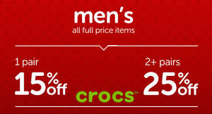 Crocs men's items are going at 15% off for 1 pair or 25% off 2 pairs from 7 – 8 Dec 2016