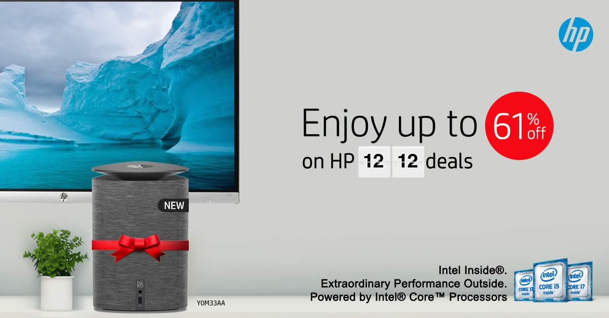 HP's online store offers a special daily deal with discounts of up to 61% off from 1 – 12 Dec 2016
