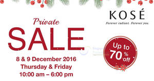 Kose up to 70% off private sale at Great World City from 8 – 9 Dec 2016