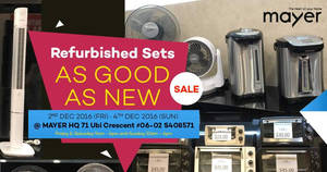 Mayer display & refurbished stock clearance sale from 2 – 4 Dec 2016