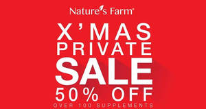 Nature's Farm is having a private sale with up to 50% off plus buy-2-get-1-free storewide from 5 – 11 Dec 2016