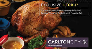 Citibank cardholders enjoy 1-for-1 weekday festive buffet at Plate, Carlton City Hotel Singapore from 12 – 23 Dec 2016