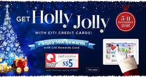 Qoo10 is giving away free $5 cart coupons for Citibank cardmembers from 5 – 11 Dec 2016