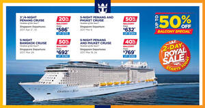 Royal Caribbean's 48hr royal sale offers up to 50% off selected balcony cruise deals from 8 – 9 Dec 2016