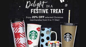 Get 20% off selected merchandise at Starbucks from 5 – 11 Dec 2016