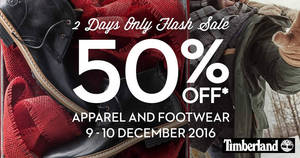 Timberland 50% off ANY apparel & footwear 48hr FLASH sale from 9 – 10 Dec 2016