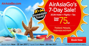 Enjoy a 3D2N vacation fr $75/pax (Hotel + Flights + Taxes) with Air Asia Go's latest promo from 16 – 22 Jan 2017