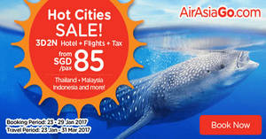 Grab a 3D2N vacation fr $85/pax (Hotel + Flights + Taxes) with Air Asia Go's latest promo valid from 23 – 29 Jan 2017