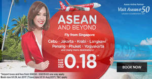 AirAsia offers fares from $0.18* to ASEAN & many other destinations for travel up to Aug 17. Book from 23 – 29 Jan 2017