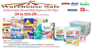 Aurorababynkids warehouse sale featuring Japan baby diapers & wet wipes from 12 – 21 Jan 2017