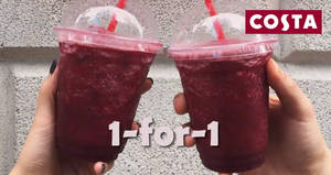 Costa Coffee offers 1-for-1 Blackberry and Raspberry Fruit Coolers from 18 – 29 Jan 2017