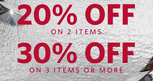 Esprit offers 20% to 30% off when you buy minimum two items from 19 Jan 2017
