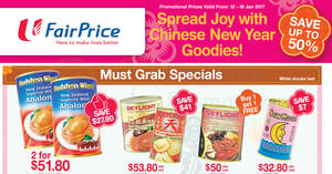 Golden Chef, Skylight & New Moon abalone up to 50% off offers at Fairprice from 12 – 18 Jan 2017