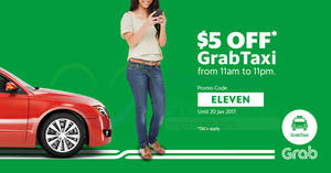 Save $5 off GrabTaxi rides for all users with this promo code valid from 14 – 20 Jan 2017