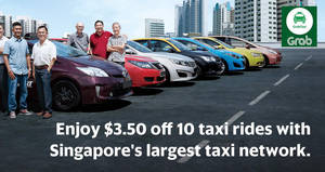Enjoy $3.50 off ten GrabTaxi bookings with this promo code from 5 – 31 Jan 2017