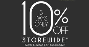 Isetan Supermarket 10% off storewide direct discount for 3-days only from 16 – 18 Jan 2017