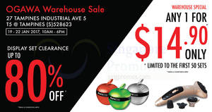 OGAWA warehouse sale offers up to 80% off display sets from 19 – 22 Jan 2017