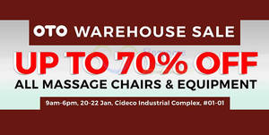 OTO warehouse sale offers discounts of up to 70% off from 20 – 22 Jan 2017