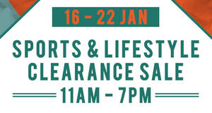 Branded Sports & Lifestyle Clearance Sale – Everything below $10 from 16 – 22 Jan 2017