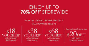 Robinsons up to 70% off storewide sale plus free voucher with minimum $180 spend from 25 – 31 Jan 2017