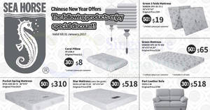 Sea Horse offers 30% to 50% off CNY specials on selected furniture, mattresses, pillows & more valid from 12 – 31 Jan 2017