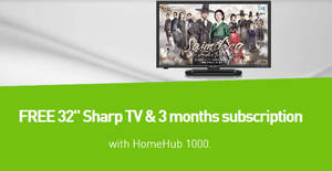 Sign-up Starhub HomeHub 1000 & get a free 32″ Sharp TV plus 3-mths free subscription from 19 Jan 2017