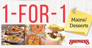 Swensen's offers 1-for-1 mains & desserts on weekdays (230pm – 430pm) from 9 Jan 2017