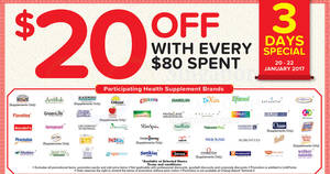 Unity offers $20 off $80 min spend on participating health supplement brands from 20 – 22 Jan 2017