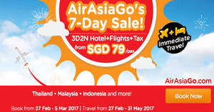 Enjoy a 3D2N vacation fr $79/pax (Hotel + Flights + Taxes) with Air Asia Go's latest promo from 27 Feb – 5 Mar 2017