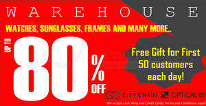 City Chain's & Optical 88's warehouse sale offers discounts of up to 80% off from 3 – 5 Mar 2017