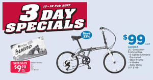 Fairprice 3-day specials – $9.90 Kinder Bueno 10's pack, $49 off Aleoca folding bike & more from 17 – 19 Feb 2017