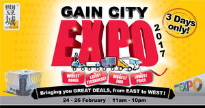 Gain City Expo at Singapore Expo & Sungei Kadut from 24 – 26 Feb 2017