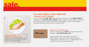 IKEA sale preview for Family members (free membership) on 1 Mar 2017